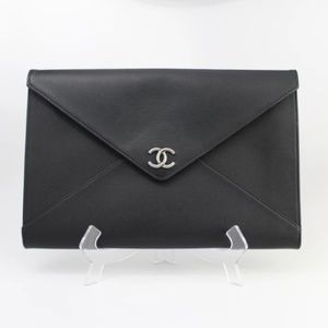 Chanel Black Caviar Envelope Clutch